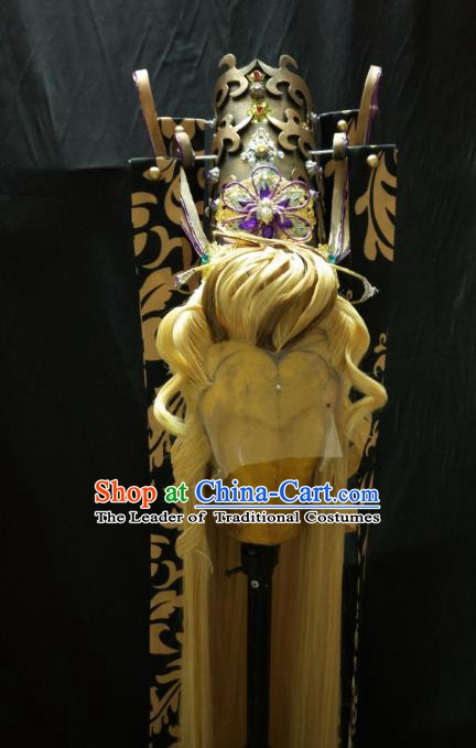 Traditional China Ancient Cosplay Royal Highness Swordsman Wig and Hair Accessories Hairdo Crown for Men