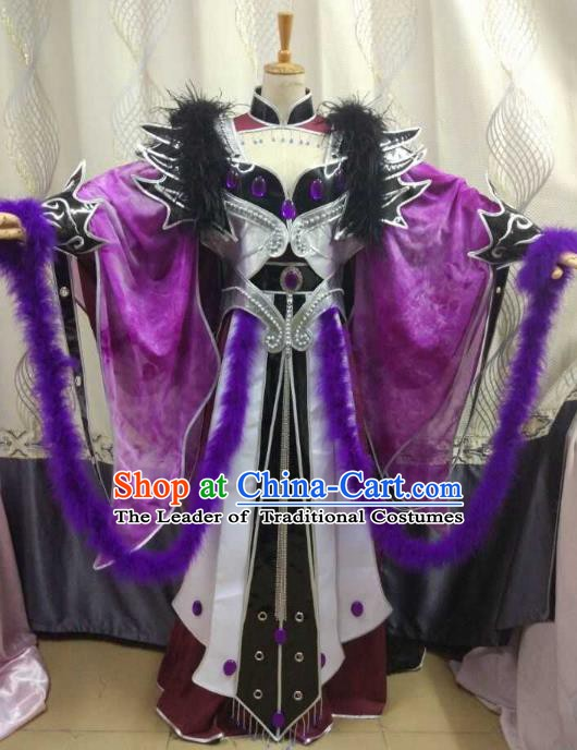 China Ancient Cosplay Female Swordsman Costume Fairy Fancy Dress Traditional Hanfu Clothing for Women