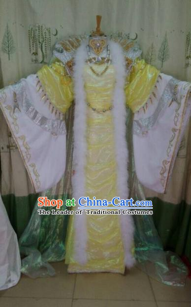 China Ancient Cosplay Asmodians Princess Costume Fairy Traditional Hanfu Yellow Dress for Women