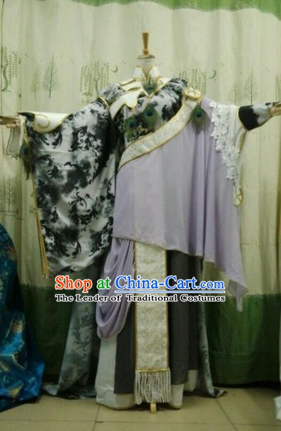 China Ancient Cosplay Halloween Swordsman Costume Traditional Queen Hanfu Dress for Women