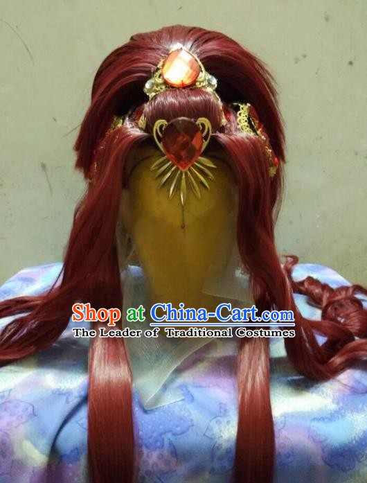 Traditional China Ancient Cosplay Nobility Lady Hair Accessories Wig and Headwear for Women