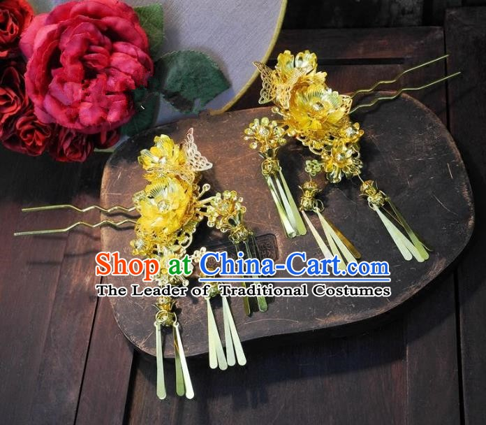 Chinese Handmade Classical Hair Accessories Ancient Wedding Hanfu Golden Hair Clips Hairpins for Women