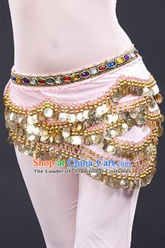 Traditional Asian Indian Belly Dance Waist Accessories Pink Waistband India National Dance Belts for Women