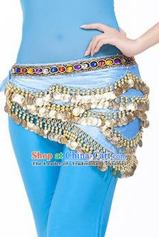 Traditional Asian Indian Belly Dance Waist Accessories Blue Waistband India National Dance Belts for Women