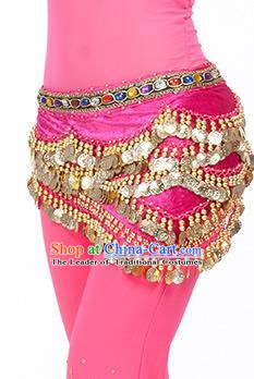 Traditional Asian Indian Belly Dance Waist Accessories Rosy Waistband India National Dance Belts for Women