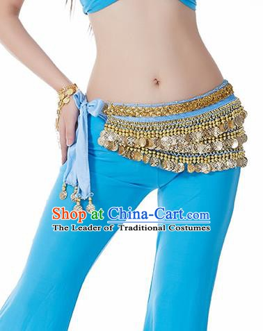 Blue Waistband Asian Indian Belly Dance Waist Accessories India National Dance Belts for Women