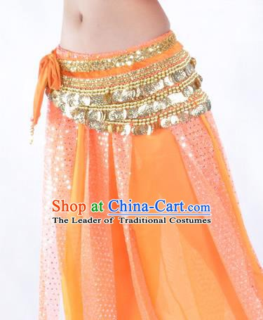Orange Waistband Asian Indian Belly Dance Waist Accessories India National Dance Belts for Women