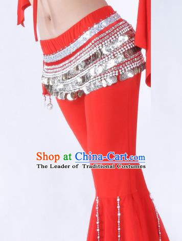 Asian Indian Belly Dance Argent Paillette Waistband Accessories India National Dance Red Belts for Women