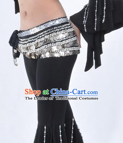 Asian Indian Belly Dance Argent Paillette Waistband Accessories India National Dance Black Belts for Women