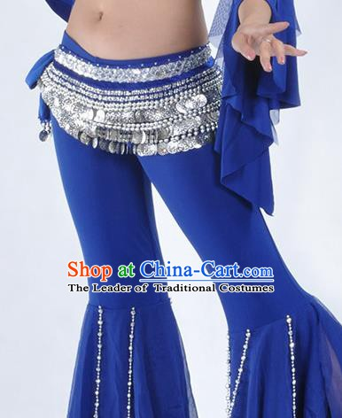 Asian Indian Belly Dance Argent Paillette Waistband Accessories India National Dance Royalblue Belts for Women