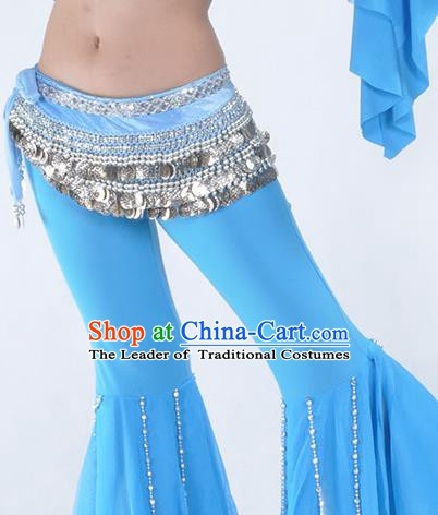 Asian Indian Belly Dance Argent Paillette Waistband Accessories India National Dance Blue Belts for Women