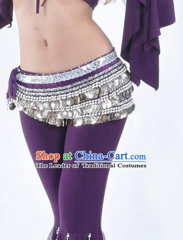Asian Indian Belly Dance Argent Paillette Waistband Accessories India National Dance Purple Belts for Women