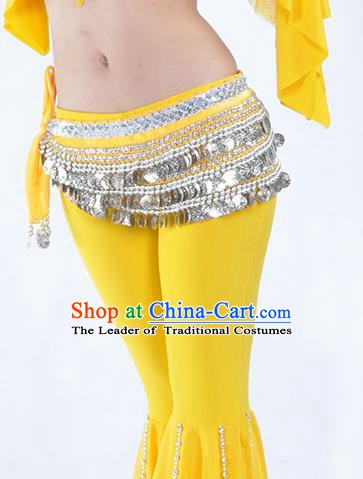 Asian Indian Belly Dance Argent Paillette Waistband Accessories India National Dance Yellow Belts for Women