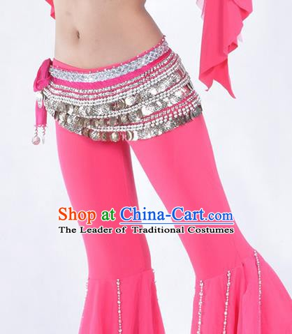 Asian Indian Belly Dance Argent Paillette Waistband Accessories India National Dance Rosy Belts for Women