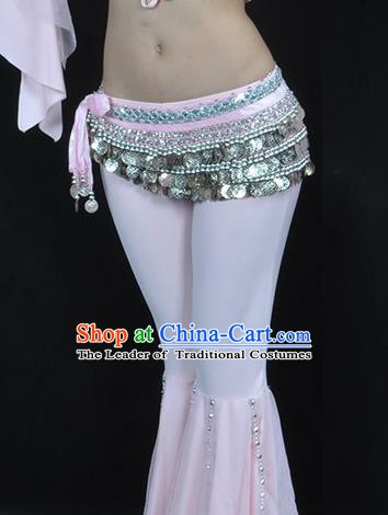 Asian Indian Belly Dance Argent Paillette Waistband Accessories India National Dance Pink Belts for Women