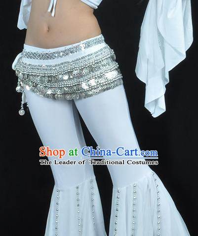 Asian Indian Belly Dance Argent Paillette Waistband Accessories India National Dance White Belts for Women