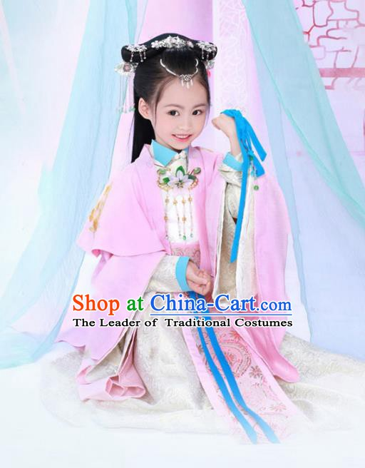Traditional Chinese Tang Dynasty Royal Princess Nobility Lady Costume for Kids
