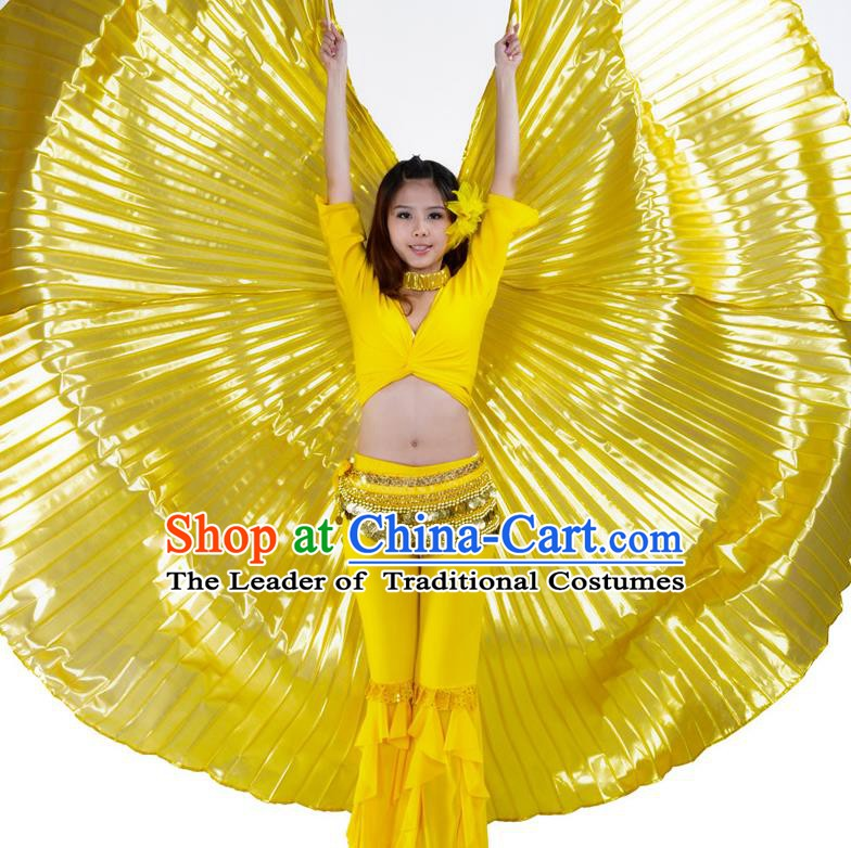 Asian Indian Belly Dance Prop Golden Wings India National Stage Performance Large Wing for Women