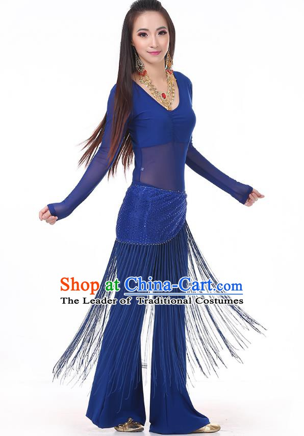 Asian Indian Belly Dance Deep Blue Costume Stage Performance India Raks Sharki Dress for Women