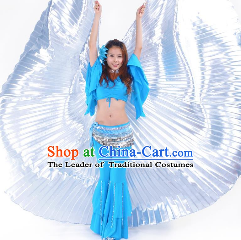 Asian Indian Belly Dance Prop White Wings India National Stage Performance Large Wing for Women
