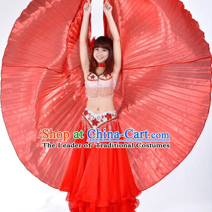 Asian Indian Belly Dance Prop Red Wings India National Stage Performance Large Wing for Women