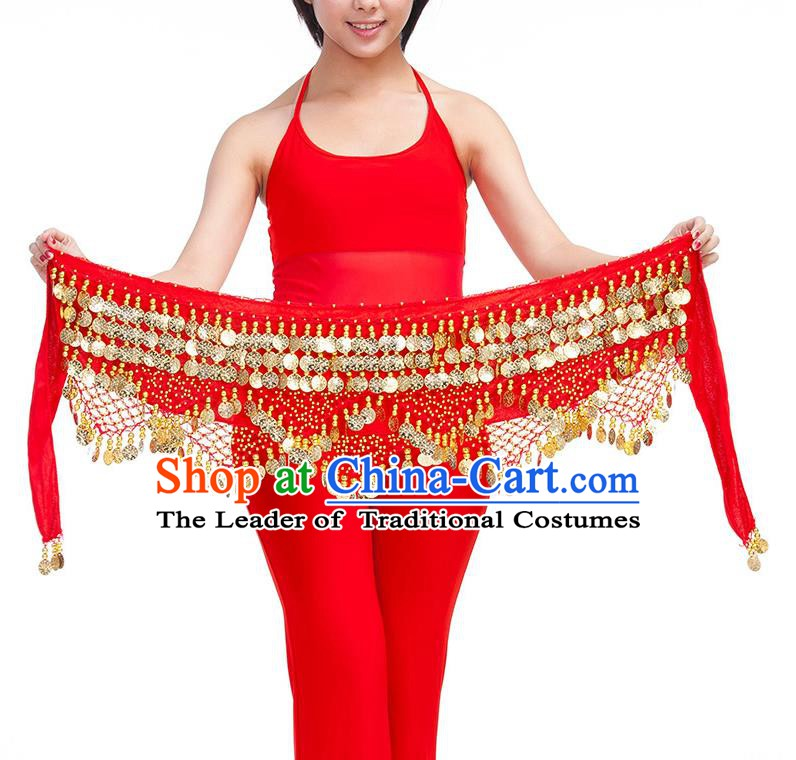 Asian Indian Belly Dance Golden Paillette Red Waistband Accessories India Raks Sharki Belts for Women