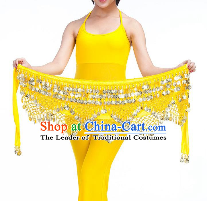 Asian Indian Belly Dance Golden Paillette Yellow Waistband Accessories India Raks Sharki Belts for Women