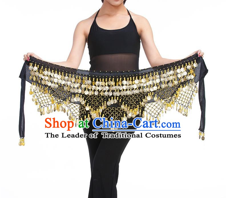 Asian Indian Belly Dance Golden Paillette Black Waistband Accessories India Raks Sharki Belts for Women