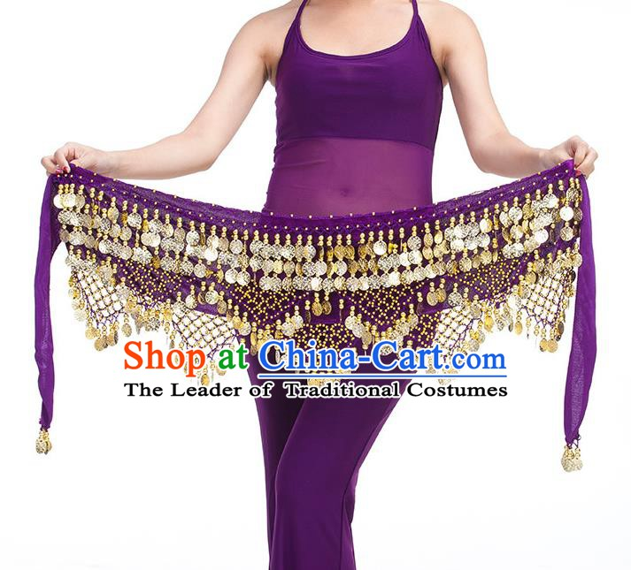 Asian Indian Belly Dance Golden Paillette Purple Waistband Accessories India Raks Sharki Belts for Women