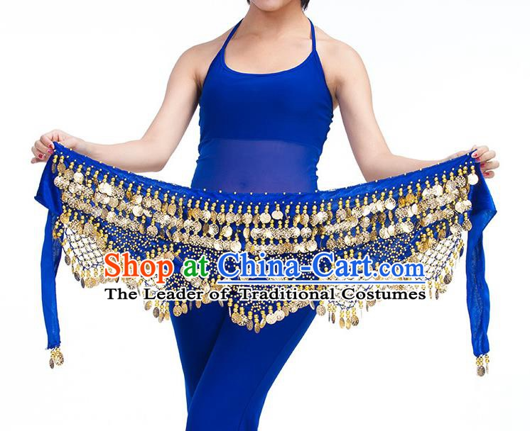 Asian Indian Belly Dance Golden Paillette Royalblue Waistband Accessories India Raks Sharki Belts for Women