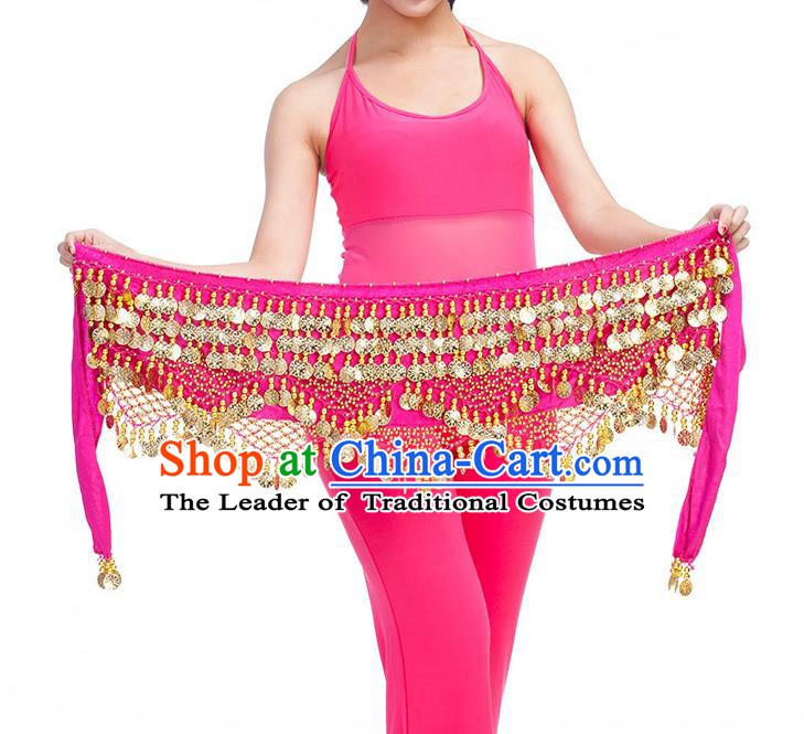 Asian Indian Belly Dance Golden Paillette Rosy Waistband Accessories India Raks Sharki Belts for Women