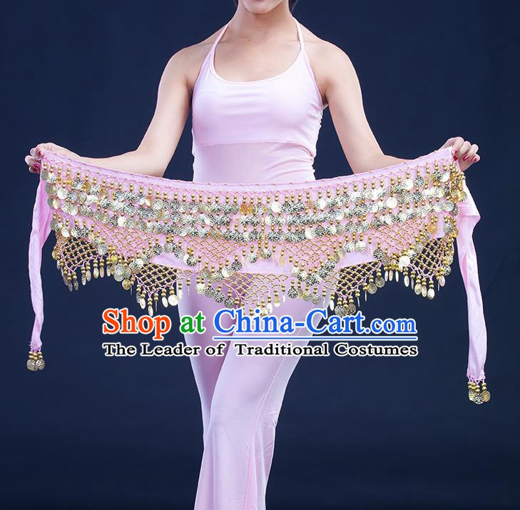 Asian Indian Belly Dance Golden Paillette Pink Waistband Accessories India Raks Sharki Belts for Women