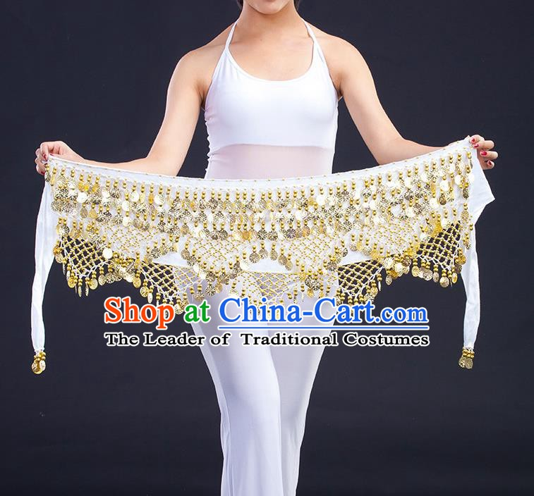 Asian Indian Belly Dance Golden Paillette White Waistband Accessories India Raks Sharki Belts for Women