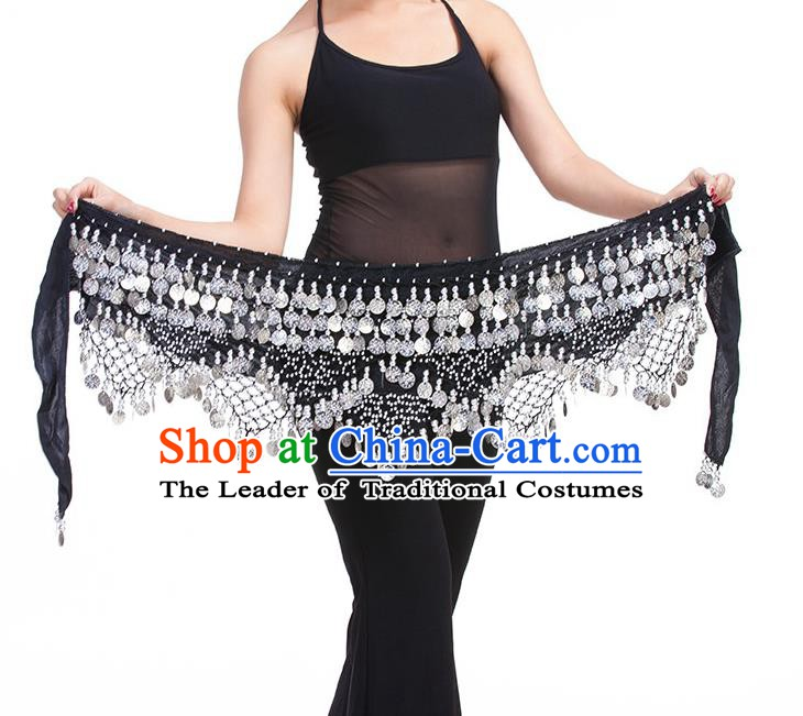 Asian Indian Belly Dance Paillette Black Waistband Accessories India Raks Sharki Belts for Women