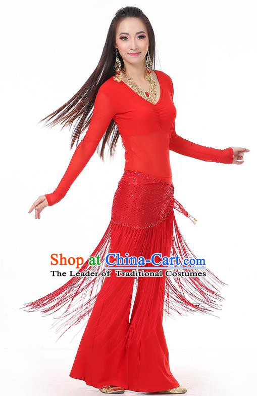 Asian Indian Belly Dance Red Costume Stage Performance India Raks Sharki Dress for Women