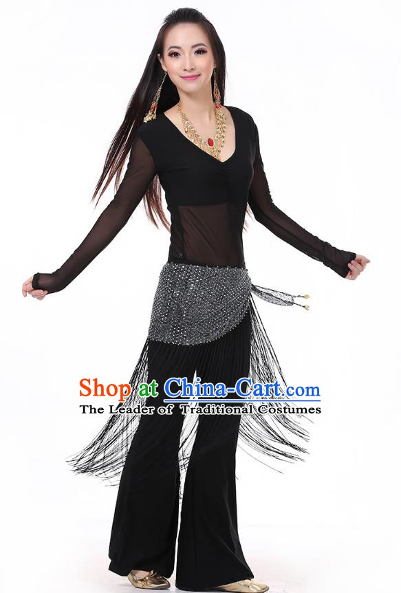 Asian Indian Belly Dance Black Costume Stage Performance India Raks Sharki Dress for Women