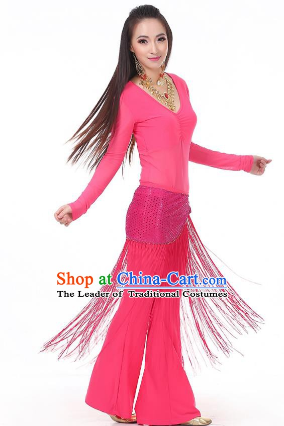 Asian Indian Belly Dance Peach Pink Costume Stage Performance India Raks Sharki Dress for Women