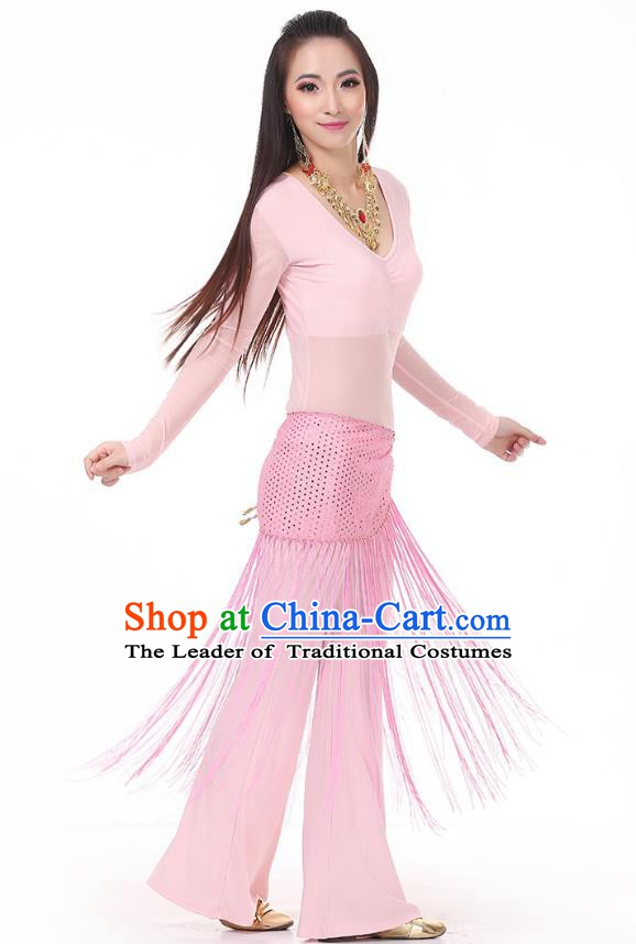 Asian Indian Belly Dance Pink Costume Stage Performance India Raks Sharki Dress for Women