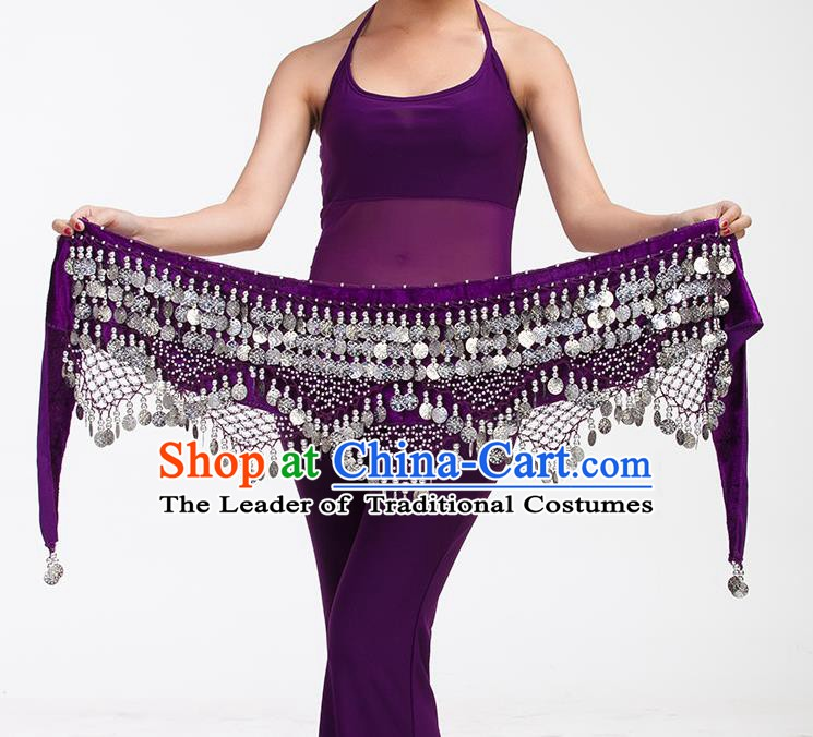 Asian Indian Belly Dance Paillette Purple Waistband Accessories India Raks Sharki Belts for Women