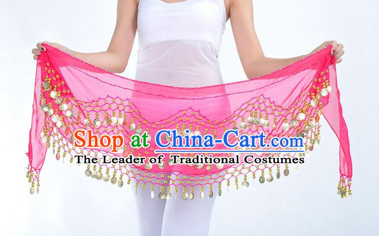 Asian Indian Belly Dance Rosy Silk Waistband Accessories India Raks Sharki Belts for Women