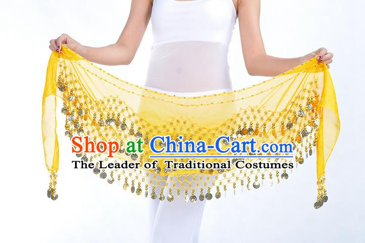Asian Indian Belly Dance Yellow Silk Waistband Accessories India Raks Sharki Belts for Women