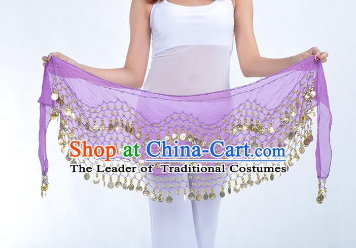 Asian Indian Belly Dance Purple Silk Waistband Accessories India Raks Sharki Belts for Women