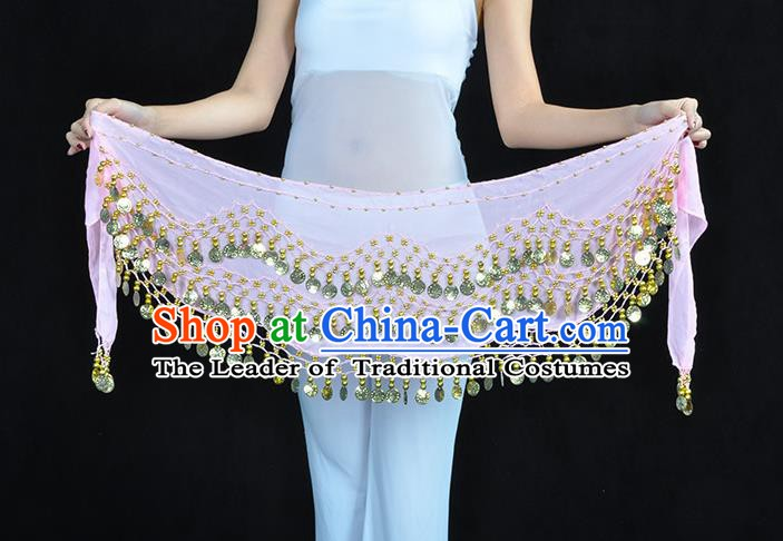 Asian Indian Belly Dance Pink Silk Waistband Accessories India Raks Sharki Belts for Women