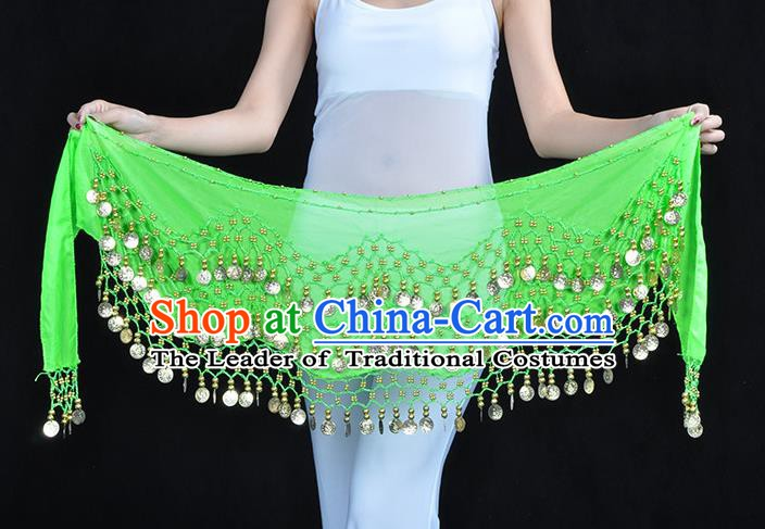 Asian Indian Belly Dance Light Green Silk Waistband Accessories India Raks Sharki Belts for Women