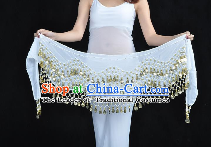 Asian Indian Belly Dance White Silk Waistband Accessories India Raks Sharki Belts for Women