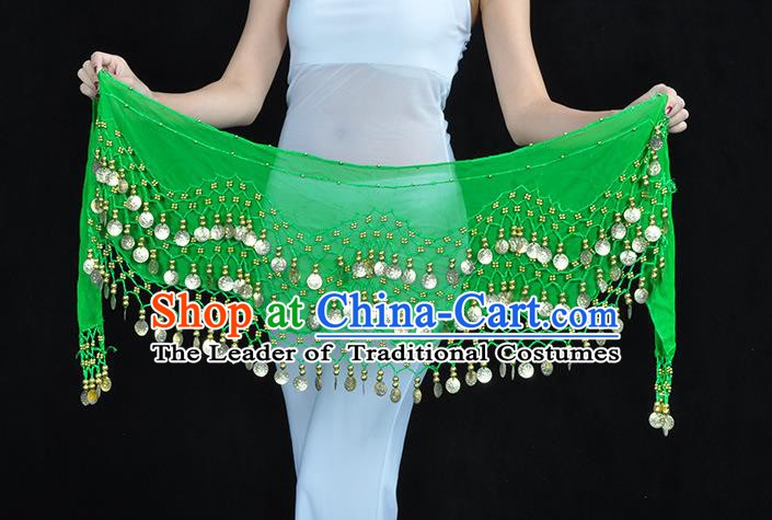 Asian Indian Belly Dance Green Silk Waistband Accessories India Raks Sharki Belts for Women