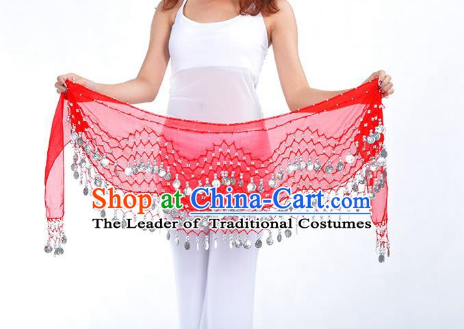 Asian Indian Belly Dance Argent Paillette Red Silk Waistband Accessories India Raks Sharki Belts for Women