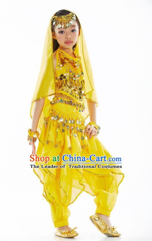 Asian Indian Belly Dance Costume Stage Performance India Raks Sharki Yellow Dress for Kids