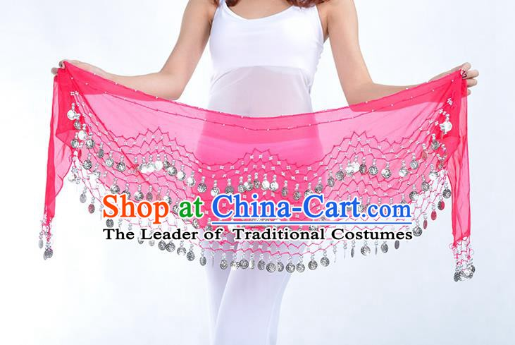 Asian Indian Belly Dance Argent Paillette Rosy Silk Waistband Accessories India Raks Sharki Belts for Women
