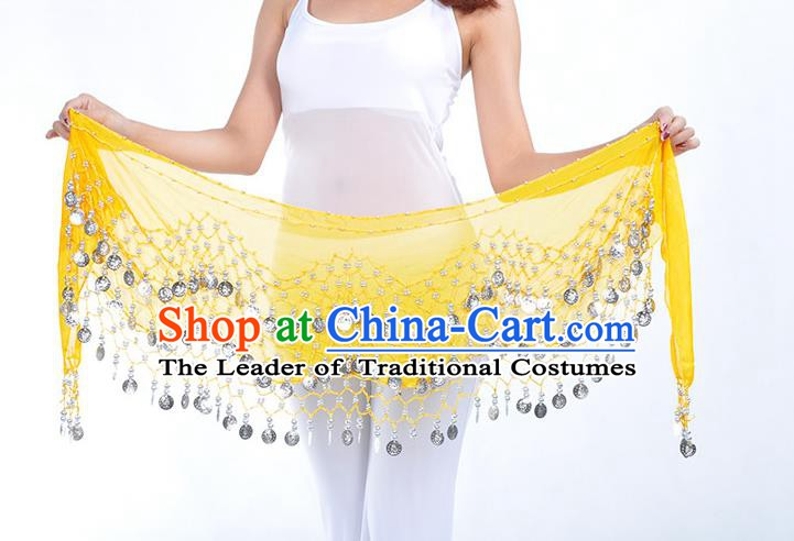 Asian Indian Belly Dance Argent Paillette Yellow Silk Waistband Accessories India Raks Sharki Belts for Women